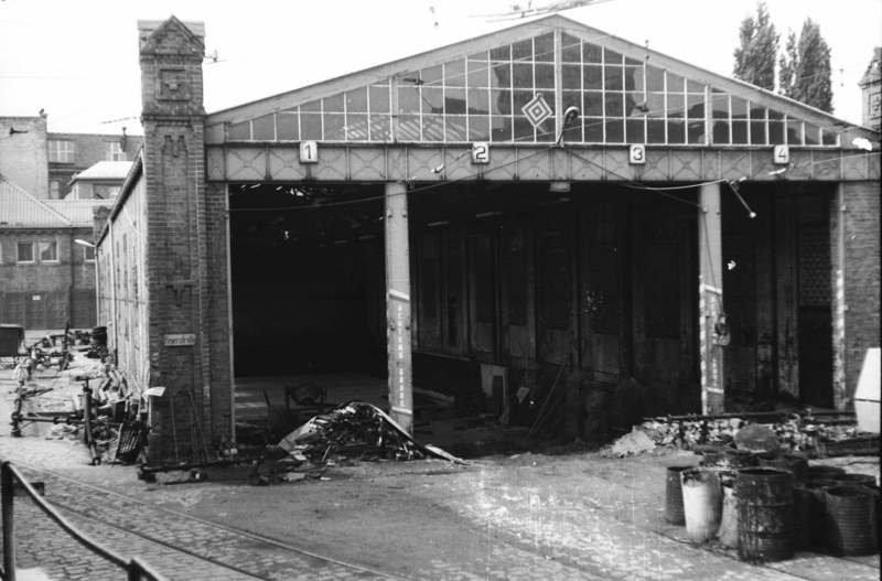 Östliche Wagenhalle im Betriebshof Bachgasse 1984