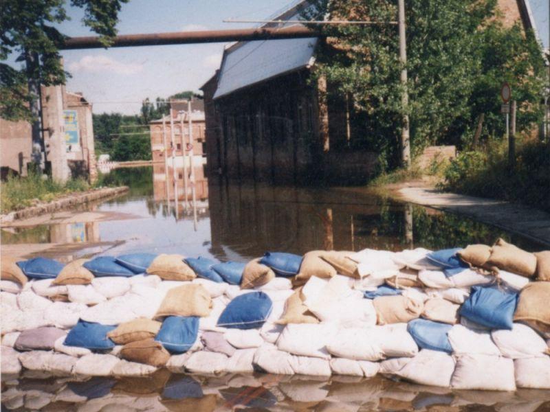 Bachgasse beim Oderhochwasser 1997